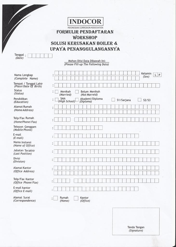 Formulir pendaftaran Workshop